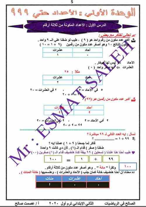 مذكرة الرياضيات للصف الثانى الابتدائى المنهج الجديد ترم أول 2020  - موقع مدرستى