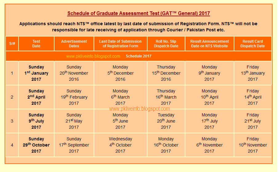 NTS GAT General Schedule (Test Dates) 2017 Announced