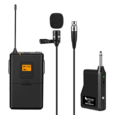 Fifine Wireless Microphone System - MultiChannel UHF Mic Set with Transmitter Receiver