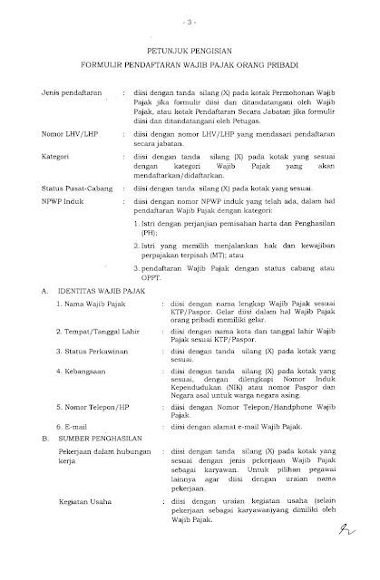 Petunjuk Pengisian Form Pendaftaran NPWP OP Hal 1