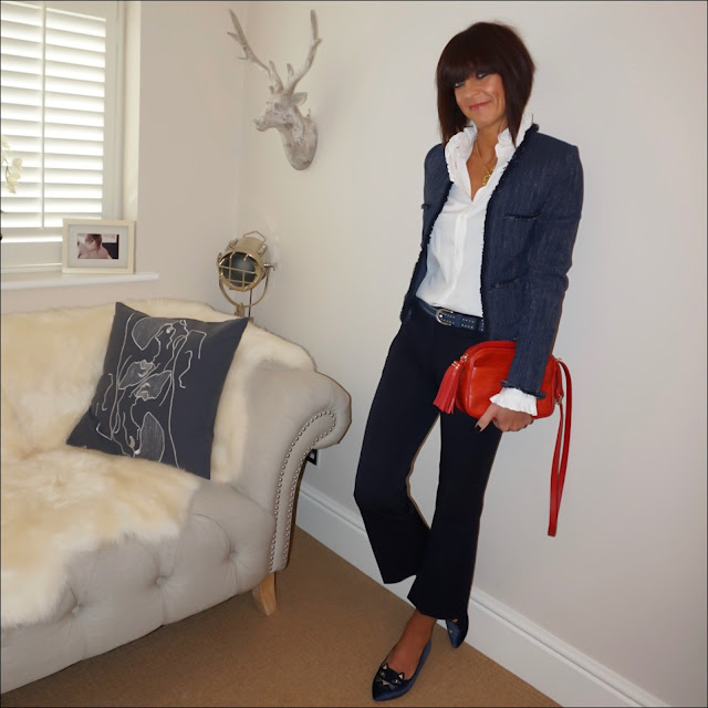 my midlife fashion, boucle cropped jacket, uniqlo ines de la fressange high neck frill collar blouse, the white company suede studded belt, uterque mock croc cross body bag, j crew cropped kick flare trousers, charlotte olympia kitty face ballet flats