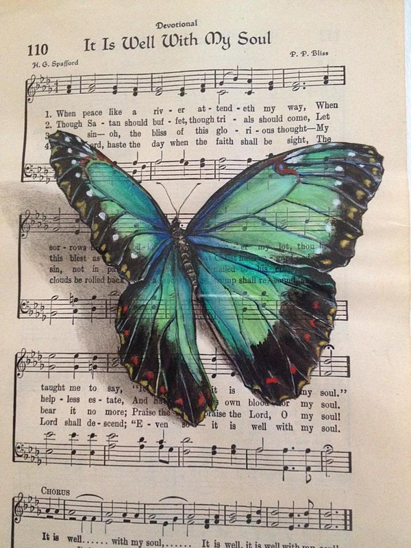 12-Janette-Rose-Painting-on-Leafs-+-Butterfly-Painting-on-Sheet-Music-www-designstack-co