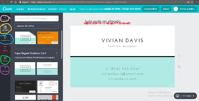 como criar cartão de visitas para blogueiras