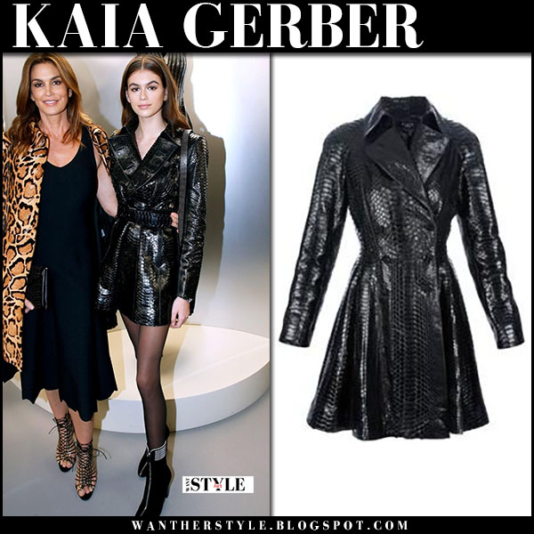 Kaia Gerber in black leather belted coat alaia chic fashion week january 21