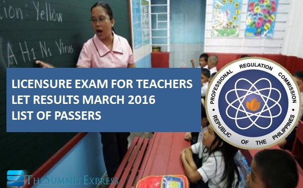 LET Results March 2016 teachers board exam