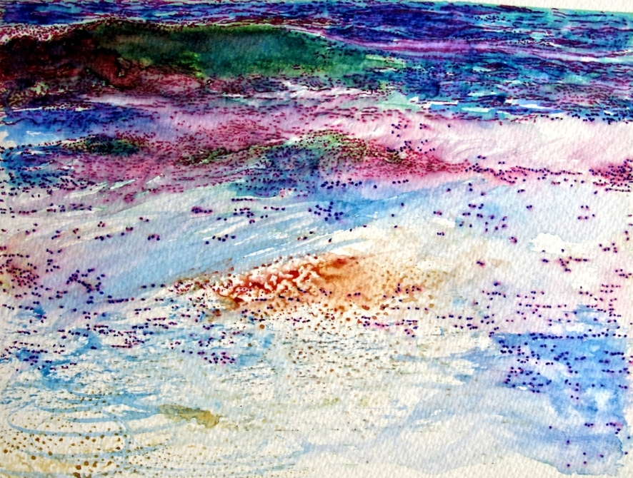 colourful sea waves watercolour and marker pens by susan wellington