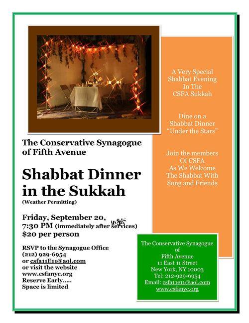 Delicious Sukkot Dinner New York