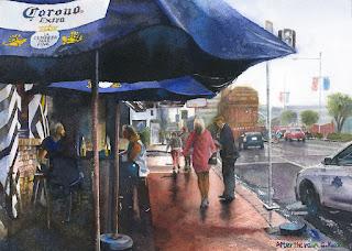 水彩画 雨上がり オークランドにて Watercolor After the rain