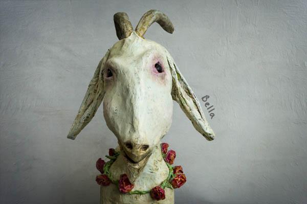 sculpted art, goat, sculpture