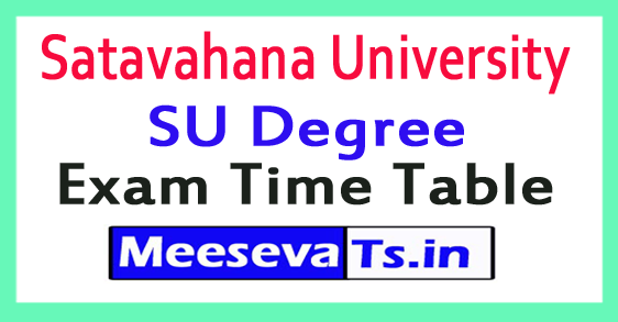 Satavahana University SU Degree Exam Time Table 2017