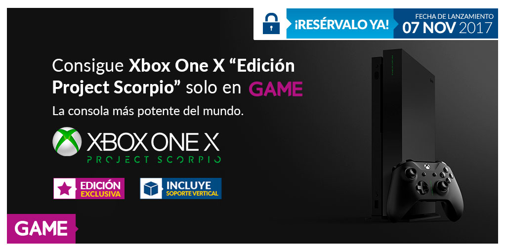 Reserva Xbox One X - Project Scorpio en exclusiva en GAME