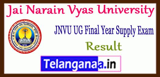 JNVU Jai Narain Vyas University Annual Supplementary Final Year Result