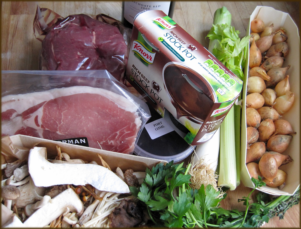 Ingredients for Boeuf Bourguignon with Wild Mushrooms