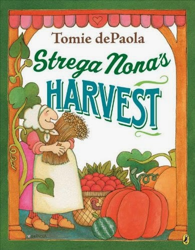Strega Nona's Harvest, part of children's book review list about fall