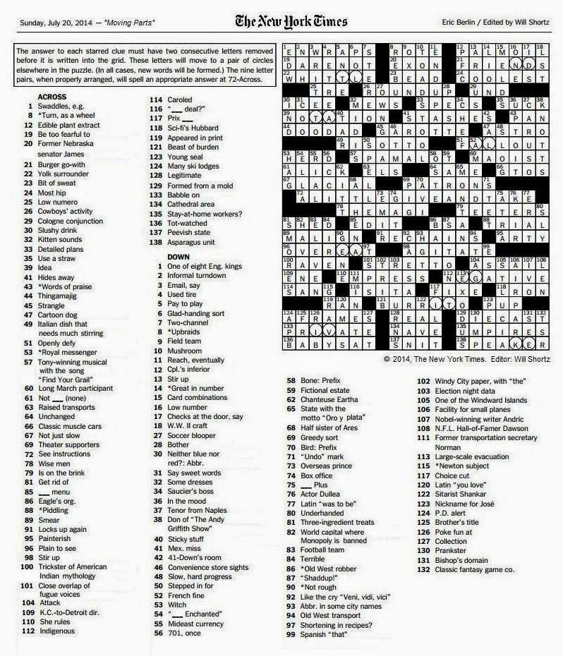 picture regarding New York Times Crossword Printable Free Sunday titled Fresh york Moments sunday Crossword free of charge printable Activity Searching