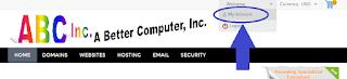 Sample ABCInc-Domains dot com login screen