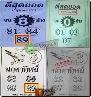 Follow-up Thailand Lottery 3up Bird pair Tip 01-11-2016