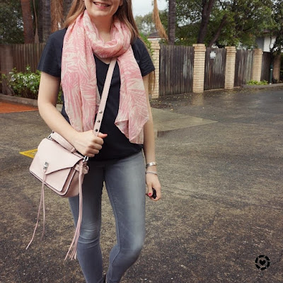 awayfromtheblue instagram | pastel pink scarf and darren bag with black tee grey skinny jeans rainy day spring style