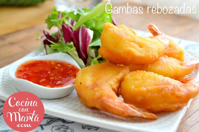 receta gambas rebozadas, sin huevo, sin leche, sin lactosa, rapida, facil, aperitivo, cocina con marta