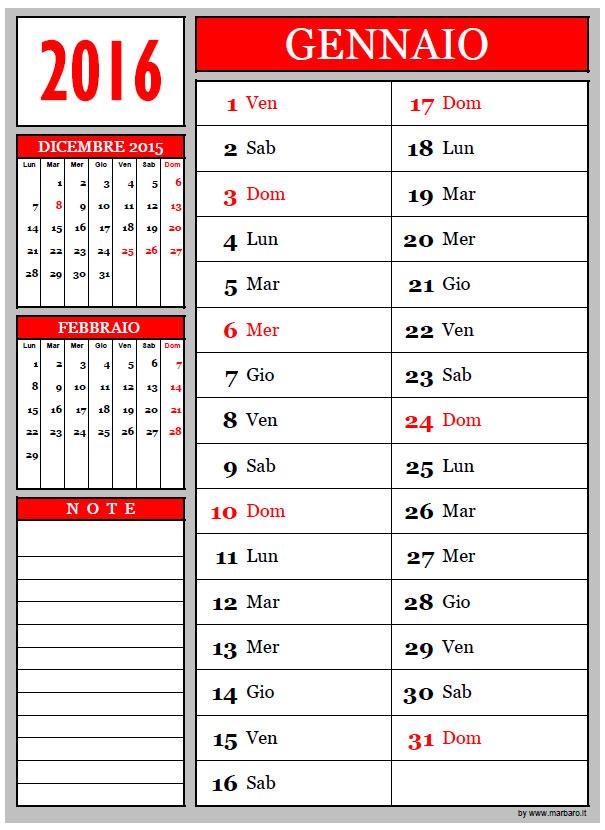 Conosciuto 10 Calendari mensili per il 2016 da scaricare gratis - [::] AR12