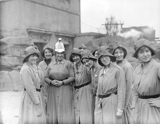 Members of the Women's Fire Brigade with their Chief Officer, March 1916