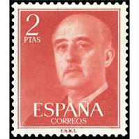 Sello de dos pesetas de Franco rojo.