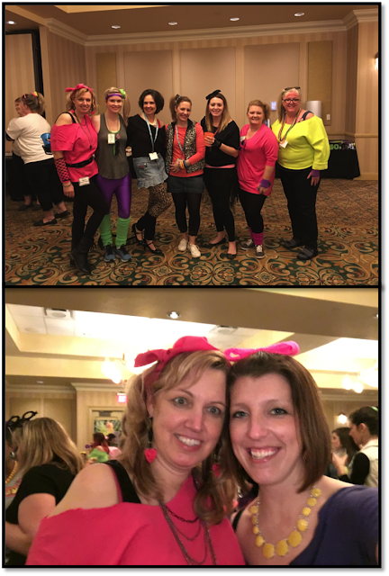 Tiffani Mugurussa from Time 4 Kindergarten and Nicole Swisher All Things Apples in 2nd at the French Lick Blogger Meet-up Epic 80's Dance Party