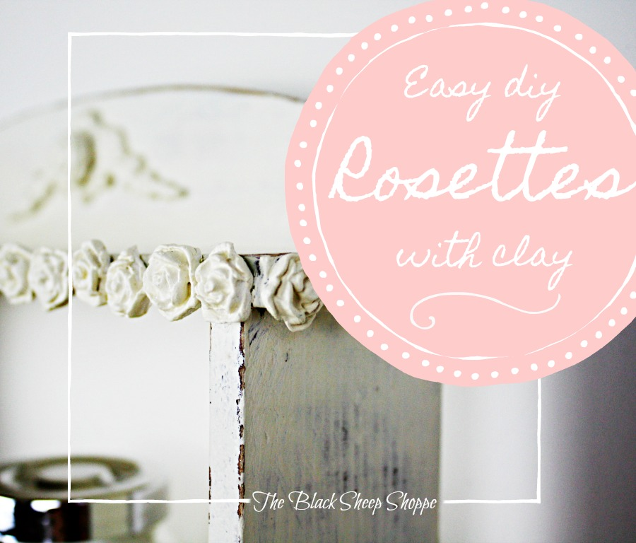 It's easy to create a shabby chic style with DIY clay rosettes.