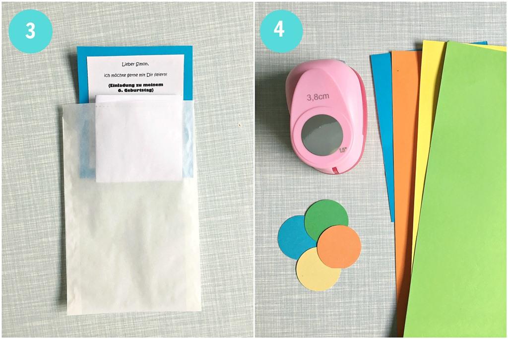 einfaches DIY Einladungen zum Kindergeburtstag, Einladungskarten selber basteln, Pergamintüten, Butterbrottüten, Masking Tape, Einladungen zum 6. Geburtstag