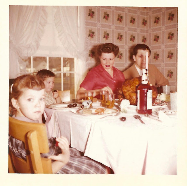 Vintage Snapshot. Family Thanksgiving dinner 1960's featuring Wild Turkey. What are you thankful for and other stories of Giving Thanks. marchmatron.com