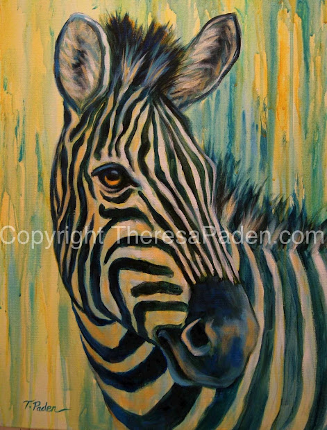 California Artwork Painting Of African Wildlife Zebra