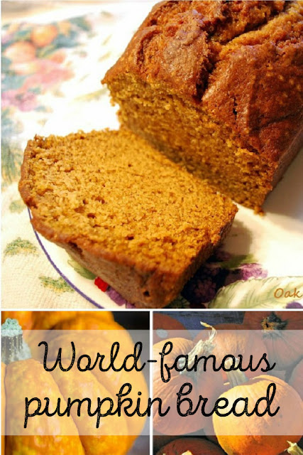 My mother's world-famous pumpkin bread recipe, the best pumpkin bread you'll ever eat.