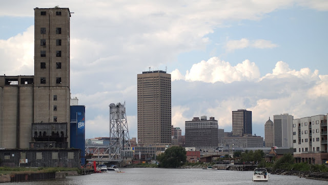 View of downtown Buffalo on our boat cruise of the Buffalo River