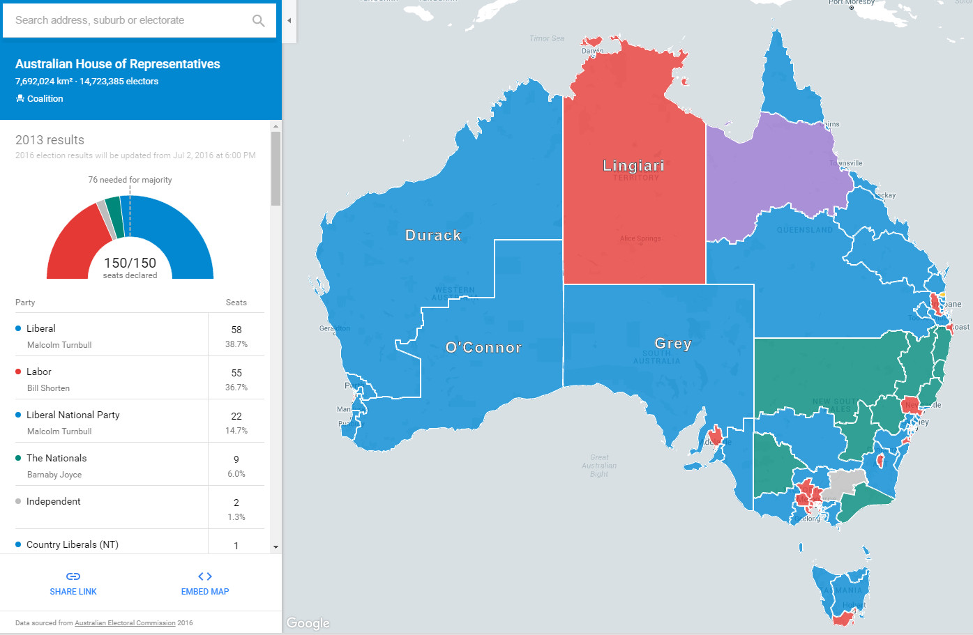 Australia Election Map