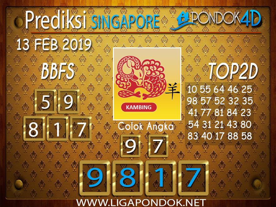 Prediksi Togel SINGAPORE PONDOK4D 13 FEBRUARI 2019