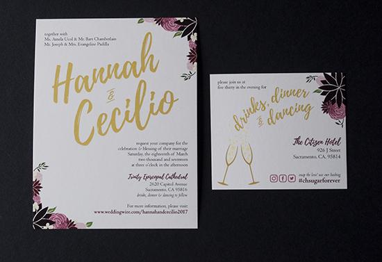 wedding invitations, sacramento wedding, reception card