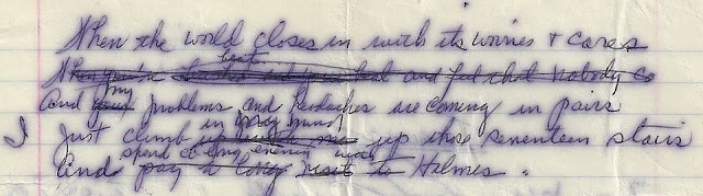 Photo of Holmes poem manuscript excerpt