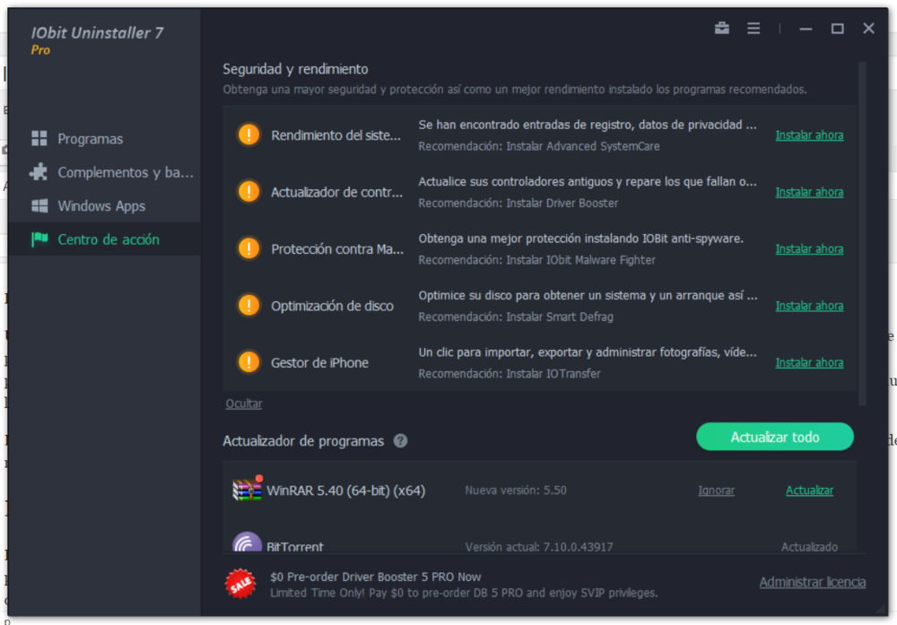 Actualizador programas IObit Uninstaller 7 pro