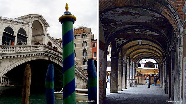 Veneza: Ponte de Rialto e um mercadinho de frutas perto do Vallaresso