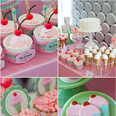 An Ice Cream Parlor Party Desserts Table