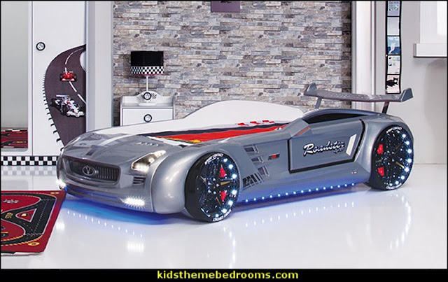 car beds - car racing theme bedrooms - theme beds - car beds - race car beds - cars - transportation theme - construction theme - boys bedroom ideas