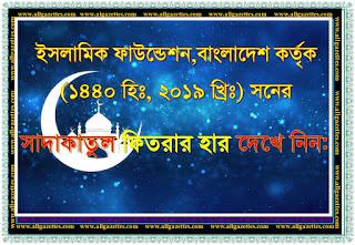 ইসলামিক ফাউন্ডেশন, বাংলাদেশ কর্তৃক ফিতরার হার নির্ধারণ (১৪৪০ হিঃ, ২০১৯ খ্রিঃ):