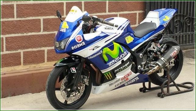 Modifikasi Mirip MotoGP Valentino Rossi Yamaha Movistar - Contoh Gambar Dan Foto Konsep Desain Modifikasi Kawasaki Ninja 4 Tak 250cc Sporti Ala Moge Keren Banget