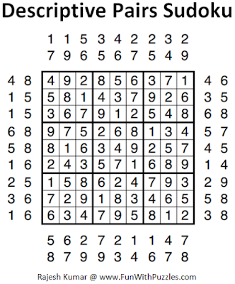 Descriptive Pairs Sudoku (Fun With Sudoku #48) Solution