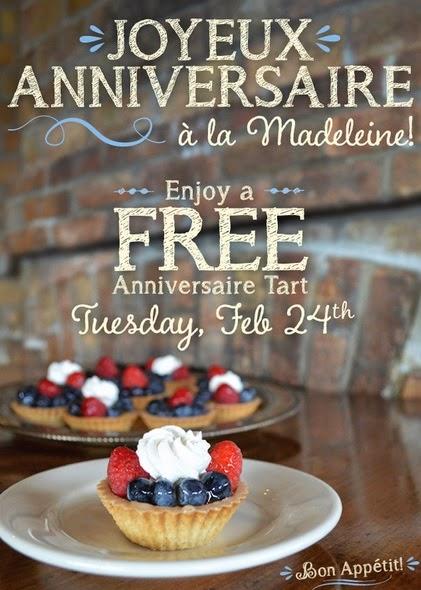 la madeleine deals free anniversaire tart february 24 2015 spend less shop more. Black Bedroom Furniture Sets. Home Design Ideas