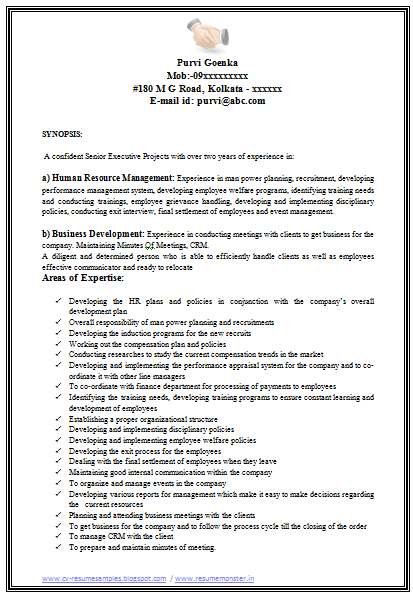 resume sample mba fresher