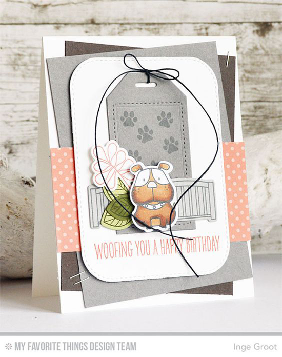 Handmade card from Inge Groot featuring Build-able Bouquet and Birdie Brown Lucky Dog stamp set and Lucky  Die-namics,  Inside & Out Stitched Rounded Rectangle STAX and Tag Builder Blueprints 5 Die-namics #mftstamps