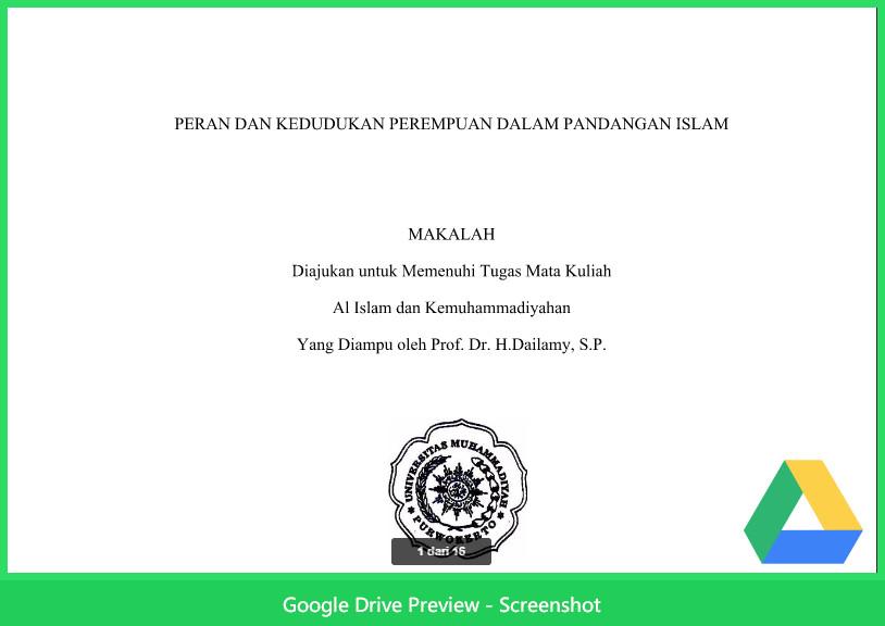 Contoh Makalah Agama Tentang Peran Dan Kedudukan Perempuan Dalam Islam