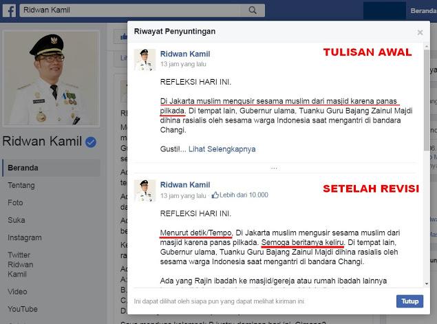 Oh Ridwan Kamil... Sekarang Kok Mudah Salahkan Muslim, Hati-hati Bergaul Gerombolan Penista