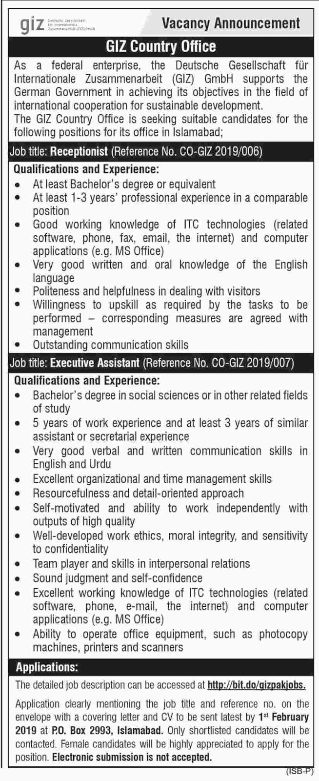 Giz Country Office Announced Jobs in Islamabad